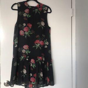 Joie sleeveless floral drop waist silk dress
